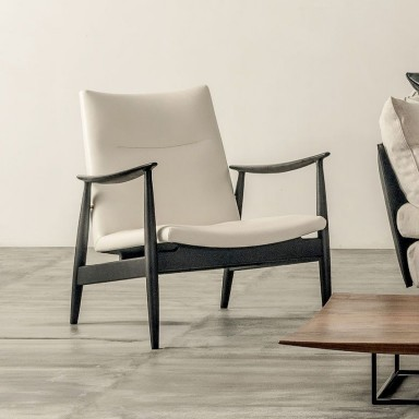 Armchair Ritzwell Rivage Leather white / black wood - 2.490,-€