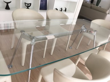 Table 200 x 90 x 71 cm Verre ultra transparent soldé 3.690,-€